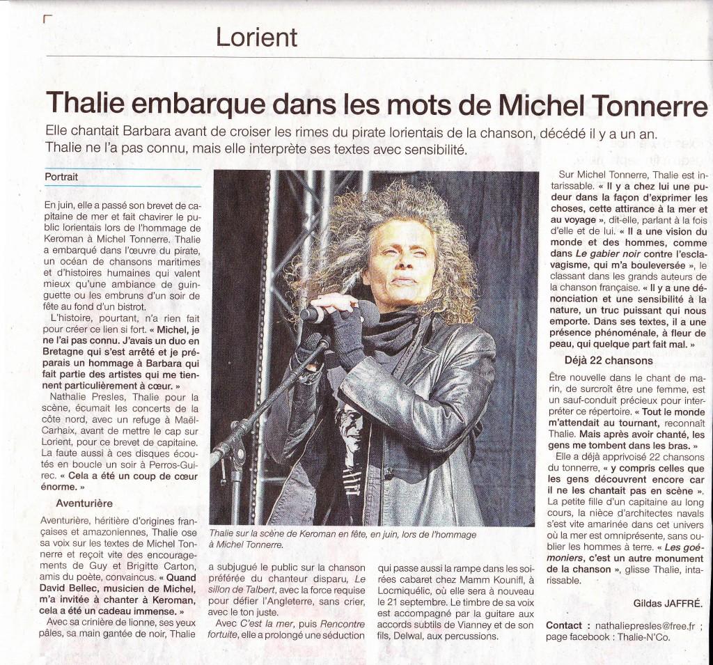 Thalie Ouest France 29 Août 2013